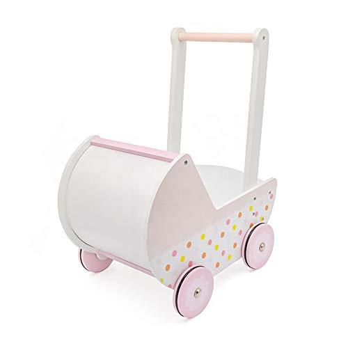 TikTakToo Carrito para muñecas de madera, color blanco y rosa