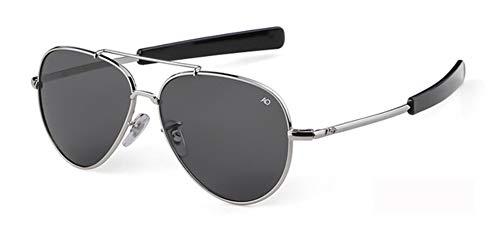 Qingb Aviation Gafas de Sol Hombres Mujeres American Army Military Optical Sun Glasses piloto Glass Shades, c6 Sliver-Grey