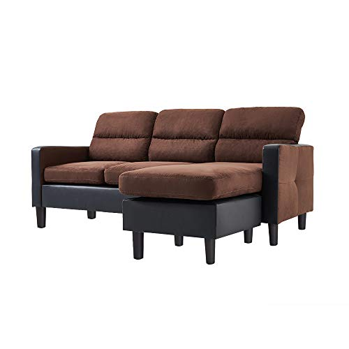 3 Seater Sofa with Reversible Chaise Footstool Fabric And Faux Leather L...