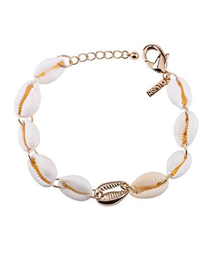 TOSH Damen Armband, Armschmuck, Gliederarmband, Muscheln, beige, goldfarben (364-504)