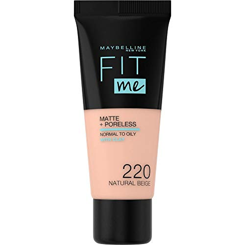 Maybelline New York FitMe Matte & Poreless Nr  220 Natural Beige, 1er Pack (1 x 30 ml)