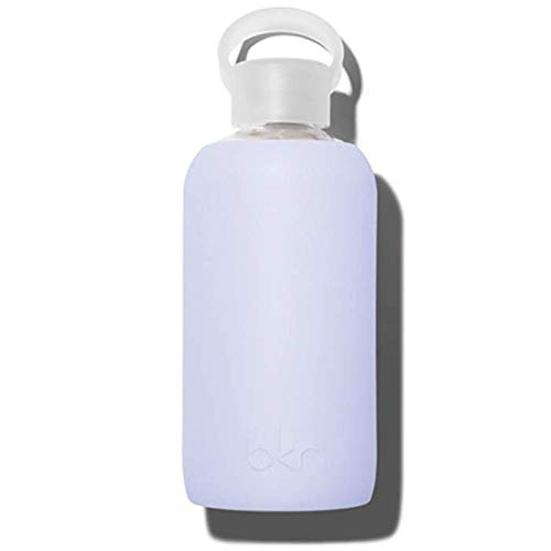 bkr Jil Water Bottle with Silicone Sleeve - Purple - Glass - Vegan & Reusable - 500ml