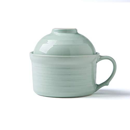 CJW Couvercle créatif de style européen brillant - grandes nouilles instantanées en céramique avec couvercle bol à bouillie diamètre des couverts 14,2 cm (Color : Green)