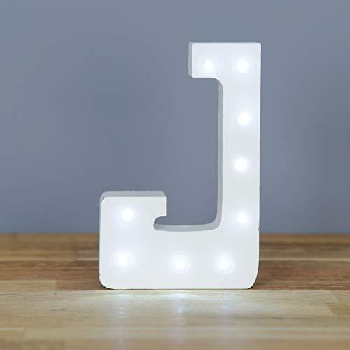 Up in Lights Muestra decorativa de madera blanca de las letras del LED - colgante de pared con pilas - Letra J