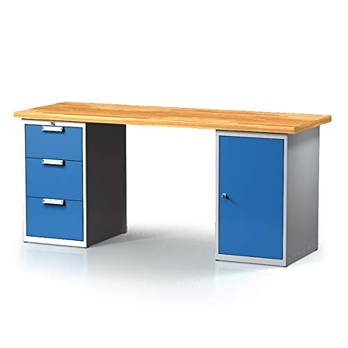 Certeo - Mesa de trabajo con cajones y armario, 3 cajones, 2000 mm de largo, mesa de trabajo, mesa multifunción, mesa de trabajo
