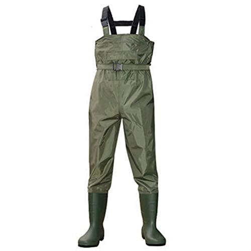 Vêtements Respirants de 0,35 mm de 0,35 mm pour la pêche Waders étanche 700D Nylon + PVC Poot Head Heat Pocket + Courroie Chasse Combinaison de Poisson (Color : Green, Size : 45)