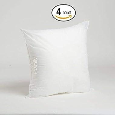 Foamily Set of 4 Premium Hypoallergenic Stuffer Pillow Insert Sham Square Form Polyester, 18  L X 18  W, Standard/White