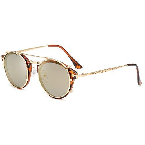 Dollger Gafas de sol dobles con clip de clip, redondas, estilo steampunk, para hombres y mujeres, color, talla Geeignet für alle Gesichtsformen
