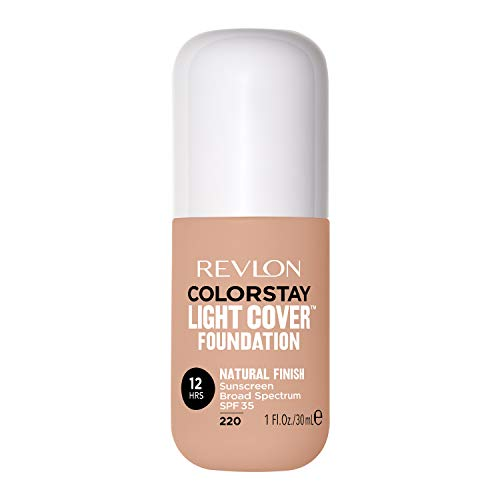 Revlon ColorStay Light Cover Liquid Foundation, Hydrating Longwear Weightless Makeup with SPF 35, Light-Medium Coverage for Blemish, Dark Spots & Uneven Skin Texture, 220 Natural Beige, 1 fl. oz.