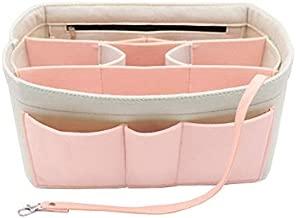 Felt Insert Fabric Purse Organizer Bag, Bag Insert In Bag with Zipper Inner Pocket Fits Neverfull Speedy 8010 White+pink M