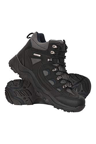 Mountain Warehouse Botas Adventurer para Hombre - Zapatillas Altas de Tejido y Material sintético para Caminar, Zapatillas de Verano con Agarre Adicional para Hombre Negro 47