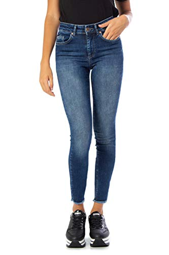 ONLY Damen ONLBLUSH MID SK ANK RAW BB REA4328A NOOS Skinny Jeans, Blau (Dark Blue Denim Dark Blue Denim), 34/L32 (Herstellergröße: XS)