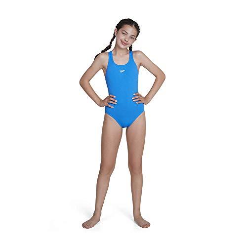 Speedo Mädchen Essential Endurance Plus Medalist Badeanzug, Blau (Neon Blue), 152 (Herstellergröße: 30)