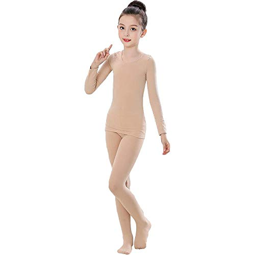 G-like Mädchen Ballett Body Tanzkleidung - Professionelle Tanzbodys Bodysuits Klassische Tänze Performance Übung Kostüm Lange Ärmel Trikot Strumpfhose Unitard für Kinder Erwachsene (Beige, M)