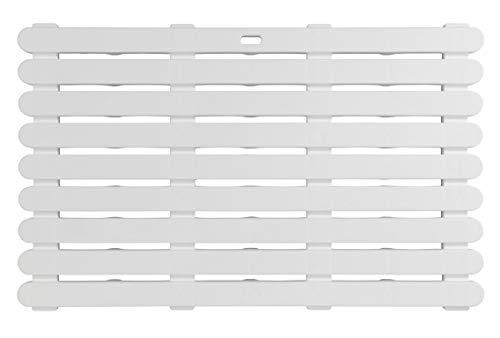 WENKO Tarima de baño Indoor & Outdoor blanco - alfombra de baño, rejilla para ducha, baño, piscina, sauna con estructura antideslizante, Plástico, 80 x 3 x 50 cm, Blanco