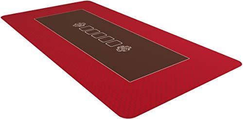 Bullets Playing Cards Profi Pokermatte Rot in 160 x 80cm für den eigenen Pokertisch - Deluxe Pokertuch – Pokerteppich – Pokertischauflage