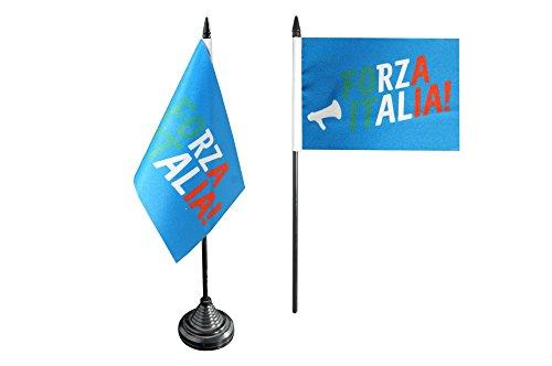 Flaggenfritze Tischflagge/Tischfahne Fanflagge Italien Forza Italia + gratis Aufkleber