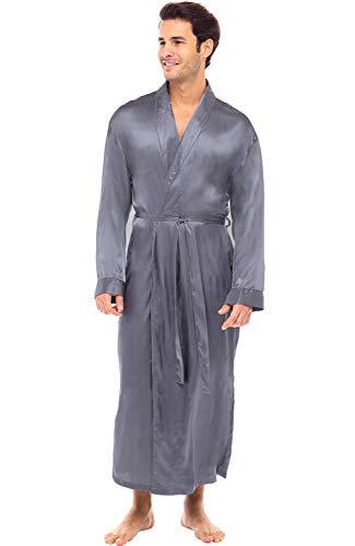 Alexander Del Rossa Herren Leichter Satin Robe Lang Kimono - - X-Large