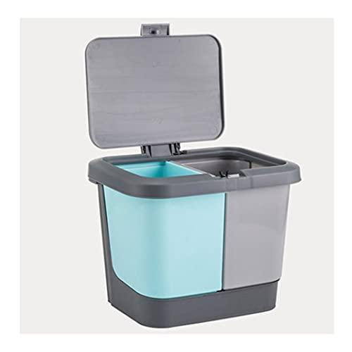 Papelera de escritorio, cubo pequeño de doble separación, cesta de papel desechable de gran capacidad, para casa, oficina, impermeable, y práctico (color: gris y azul)