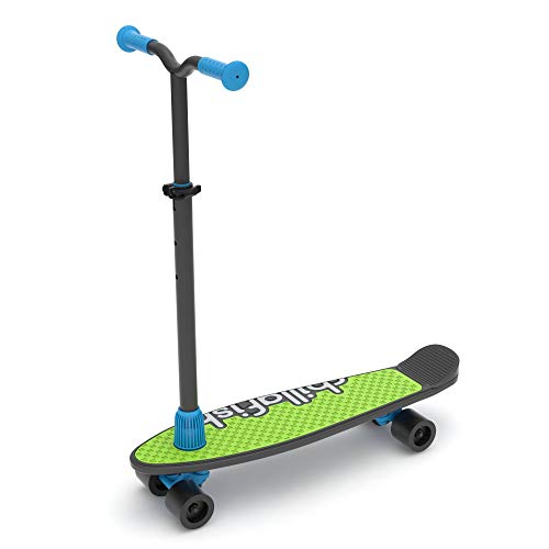 Chillafish Skatieskootie Customizable Training Skateboard and Lean-to-Steer scooter with Detachable Stability Handlebar, Multiple Deck & Tail color options, Ages 3+, Black Mix