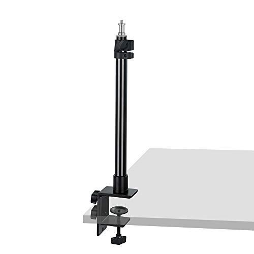 INSSTRO Soporte de luz de mesa, Soporte de clip con tornillo de 1/4 ', aleación de aluminio, altura ajustable 30-60cm compatible con anillo selfie, luz LED para maquillaje, grabación de foto y video