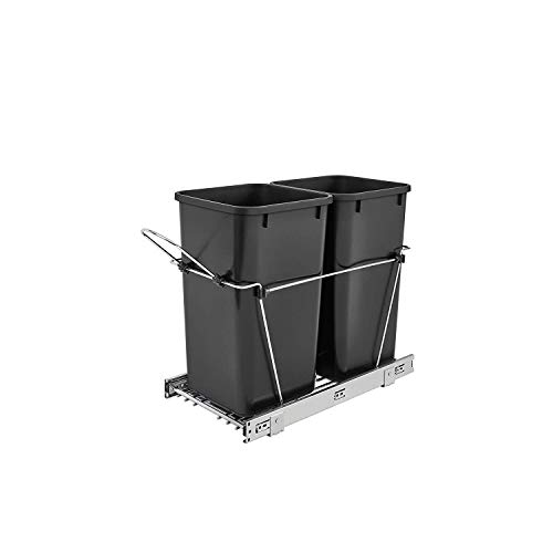 Rev-A-Shelf RV-15KD-18C S Double 27 Quart Sliding Pull-Out Waste Trash Garbage Bin Container for Base Kitchen Cabinet with 11-Inch Opening, Black
