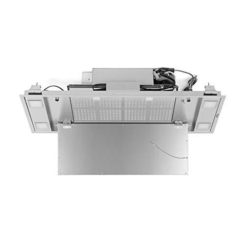 FTK - FURA Dunstabzugshaube- Deckenhaube 90x35 cm - 3 Geschwindingkeiten + intensiv - 38 db - 1 Motoren - Beleuchtung Led - Installationkit Inkl. - Edelstahl