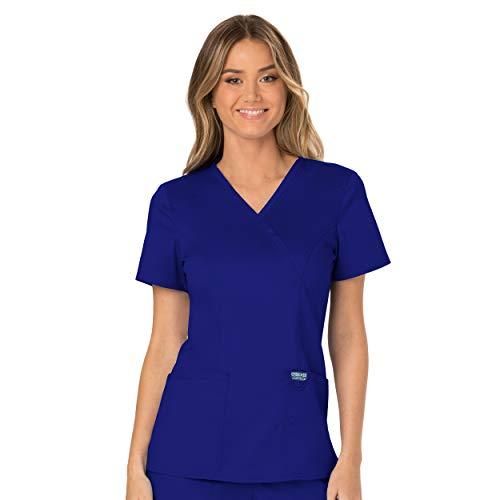 Workwear Revolution Women Scrubs Top Mock Wrap WW610, L, Galaxy Blue