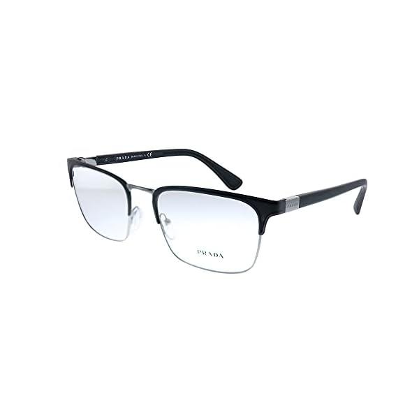 Prada Heritage PR 54TV 1BO1O1 Matte Black Metal Rectangle Eyeglasses 55mm