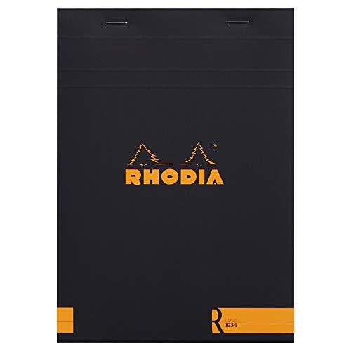 Rhodia 162012C - bloc agrafé en-tête Le R N°16 noir, A5 (14,8x21 cm), 70 feuillets détachables, ligné, papier Clairefontaine ivoire 90 g/m², couverture toucher velouté