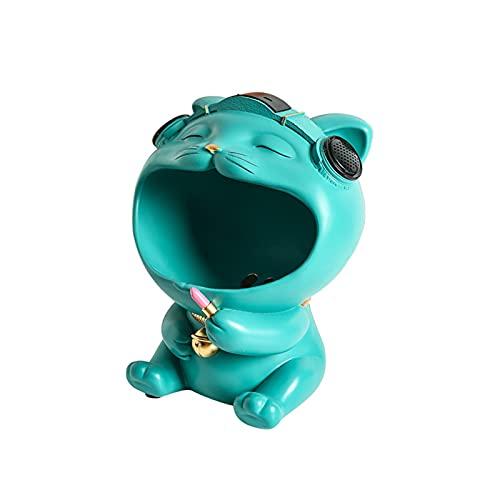 KLFD Creative Cat Key Bowl con Altavoz Bluetooth Soporte para Joyas Bandeja para Bocadillos Escritorio Pequeña Baratija Bandeja De Almacenamiento Adornos para Esculturas En El Hogar,Verde