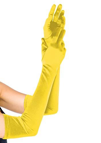 LEG AVENUE 16B - Extralange Satin-Handschuhe, gelb, Einheitsgröße, Damen Karneval Kostüm Fasching