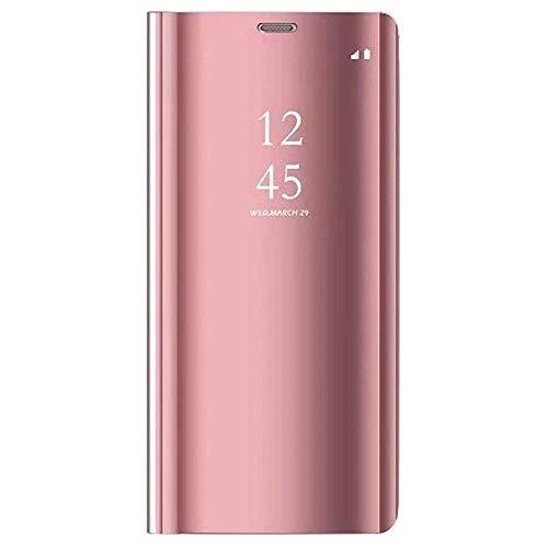 Cytech para Xiaomi Redmi 5A/Redmi Go Funda, Flip Tapa Libro Carcasa Modelo Fecha Espejo Brillante tirón del Duro Case, Espejo Soporte Plegable Reflectante (Oro Rosa)