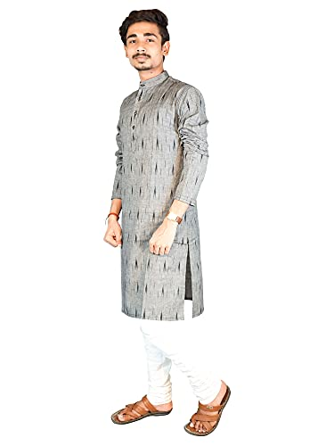 Riyashree Cotton Men's Straight Long Kurta for Men Latest Traditional Ikat Pattern Design 002