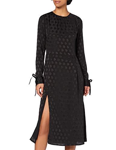 Marchio Amazon - find. Vestito Jacquard con Spacco Donna, Nero (Black Black), 42, Label: S