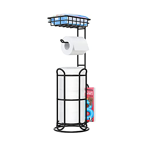 [Upgrade] Toilet Paper Holder Stand with Shelf Tissue Holders for Bathroom Free Standing Bath Tissue...