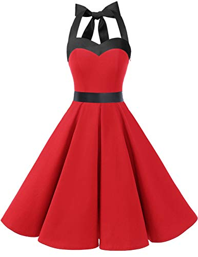 DRESSTELLS Women 50s Dress Vintage Cocktail Halter Dresses 1950s Rockabilly Audrey Hepburn Dress for Prom Bridesmaid Party Homecoming Red Black XL