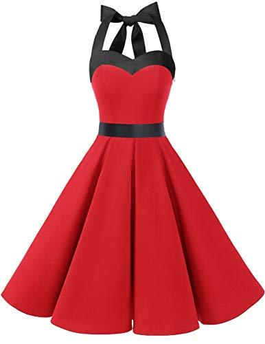 DRESSTELLS Damen Neckholder 1950er Vintage Retro Rockabilly Kleider Petticoat Faltenrock Cocktail Festliche Kleider Red Black M