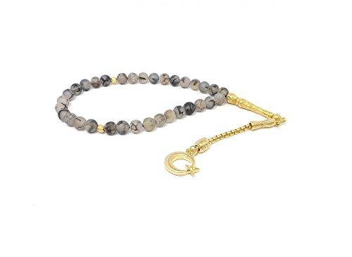 Remi Bijou Gebetskette - Tesbih 33 Perlen aus Achat grau mit Anhänger 'Mond mit Stern' - Gold Farbe