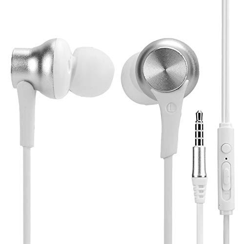 Heayzoki Kabelgebundene Ohrhörer in Ohrkopfhörern mit Mikrofon, 3,5-mm-In-Ear-Gaming-Headset, Ergonomie-Subwoofer-Mini-Kopfhörer, HiFi-Stereoanlage, Kabelgebundener Kopfhörer(Weiß)