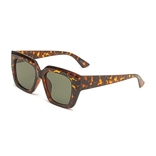 Gafas De Sol Hombre Mujeres Ciclismo Gafas De Sol Cuadradas De Moda para Mujer, Gafas De Té Rosa para Hombre, Gafas De Sol De Leopardo Vintage De Color Verde Oscuro-Leopard_Dark_Green