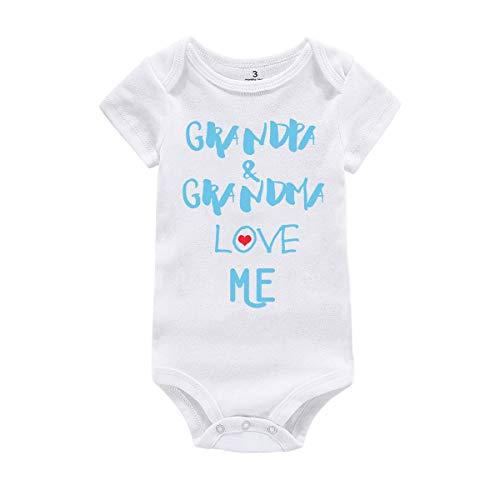 Amberetech Baby Boy Girl Outfit Grandpa Grandma Love Me Print Newborn Baby Jumpsuit Clothes (Grandpa Grandma - Blue, Tag 3 (for 0-3 Months))