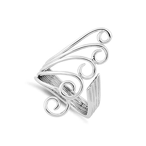 Anello in argento sterling 925 placcato platino con ali di piume di pavone gioielli Art Déco (19)