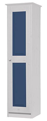 Vicenza Una Porta, Armadio in Pino massello Bianco & Colore: Blu