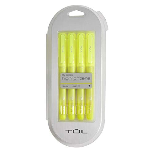 TUL Highlighter, Chisel Tip, Fluorescent Yellow, Pack of 4 Highlighters