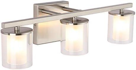 3 Light Glass Vanity Light Fixtures Nickel 17 9 Inch Farmhouse Bathroom Lighting Fixtures Wall product image