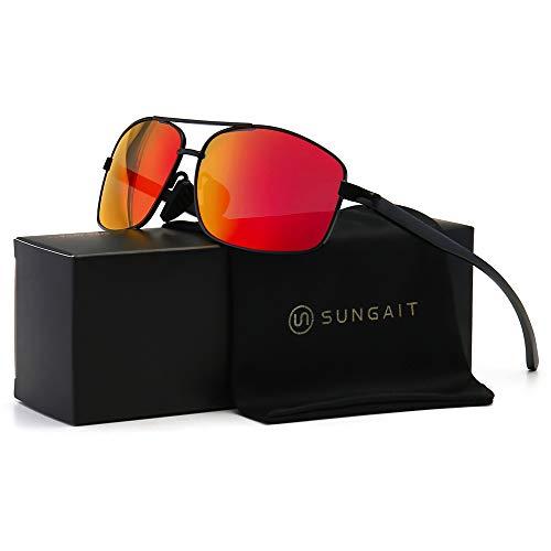occhiali da sole uomo kingseven SUNGAIT Occhiali da Sole Maschili Polarizzati Ultra Lightweight Rectangular Cycling Sunglasses per Protezione UV400 (Lente a Specchio con Montatura Nera)