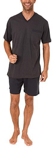 Eleganter Normann Herren Shorty Pyjama Schlafanzug kurz - auch in Übergrössen bis Gr. 70-191 105 90 518, Größe2:52, Farbe:dunkelgrau