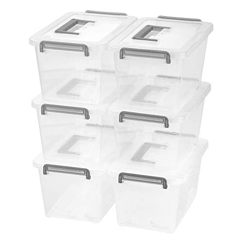 IRIS USA MLBH-290D Stack & Pull Storage Box, Medium, Clear/Silver, 6 Count