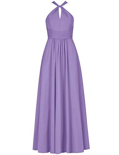 HUINI Brautjungfernkleider Lang Elegant Hochzeitskleid Damen Abendkleid Vintage Neckholder Ballkleid A-Linie Hellpurpur 38